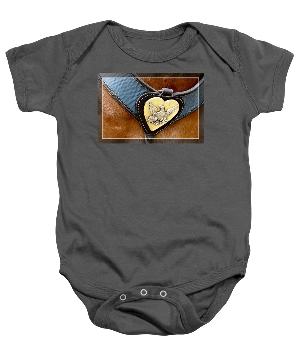 Civil War Baby Onesie featuring the photograph Civil War Horse Breastplate by Alice Gipson