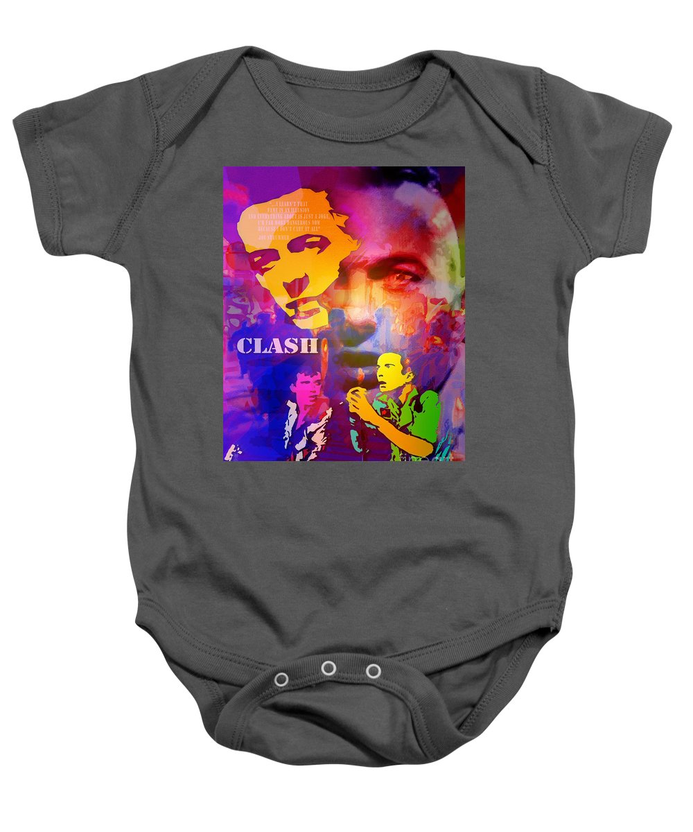 Punk Baby Onesie featuring the painting Clash Know Your Rights by Neil Finnemore