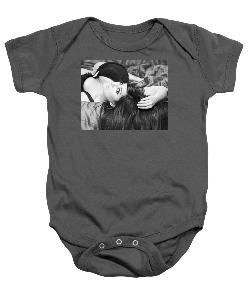 Boudoir Baby Onesie featuring the pyrography Classic Boudoir by Shoal Hollingsworth