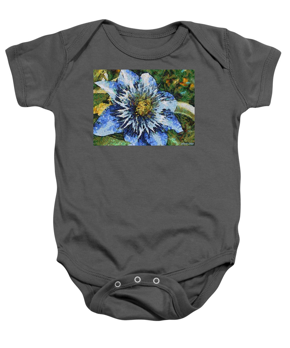 Bloom Baby Onesie featuring the painting Clematis by Jeffrey Kolker