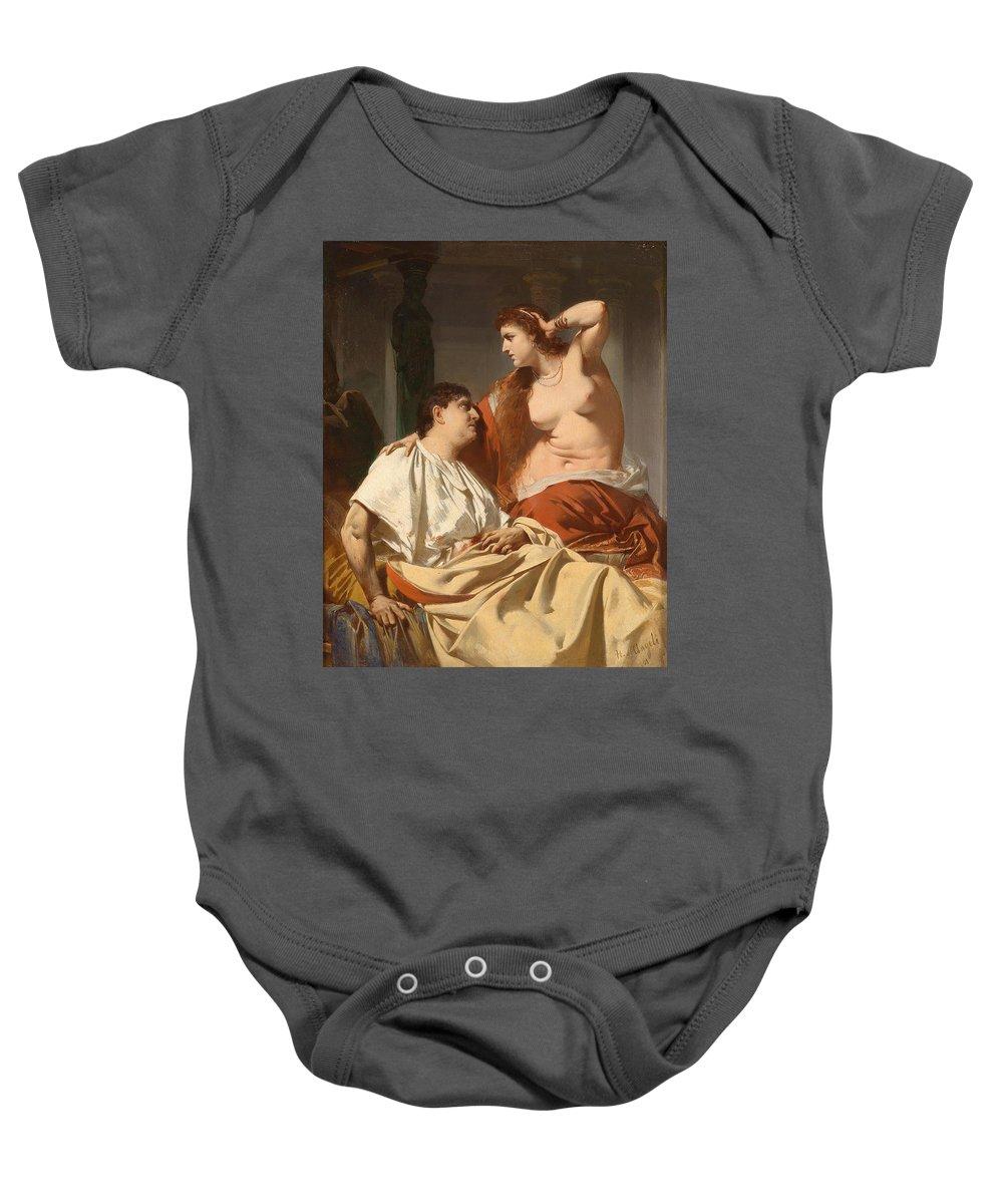 Heinrich Von Angeli Baby Onesie featuring the painting Cleopatra And Antony by Heinrich von Angeli