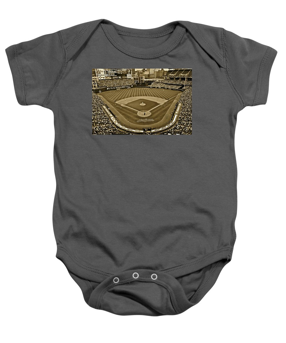 Sepia Baby Onesie featuring the photograph Cleveland Baseball In Sepia by Frozen in Time Fine Art Photography