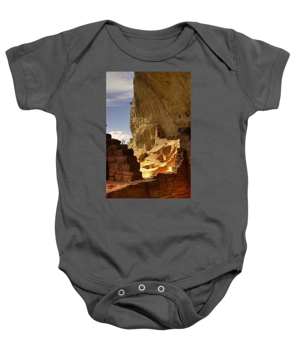 Mesa Verde Baby Onesie featuring the photograph Cliff Dwelling by Fred Hahn