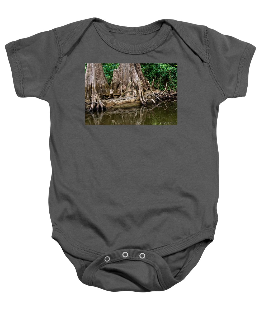 Christopher Holmes Photography Baby Onesie featuring the photograph Clinging Cypress by Christopher Holmes