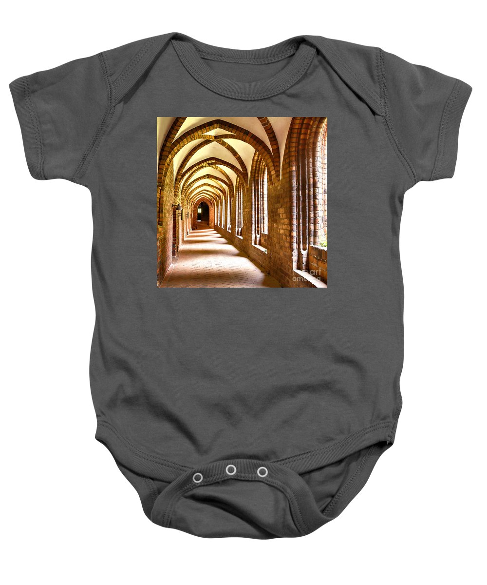 Denmark Baby Onesie featuring the photograph Cloister Arches by Sophie McAulay