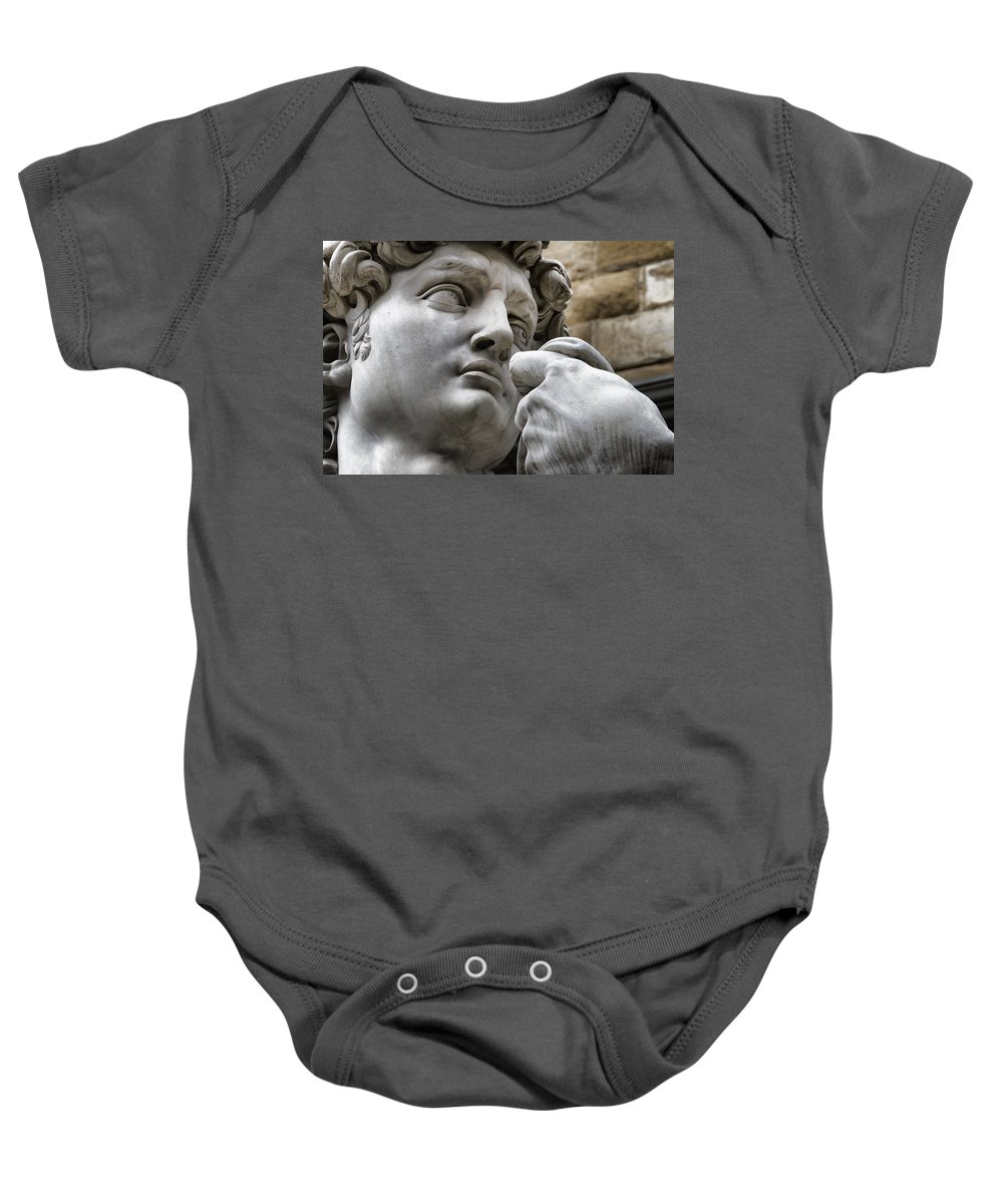 Close-up Baby Onesie featuring the photograph Close-up Face Statue Of David In Florence by David Smith