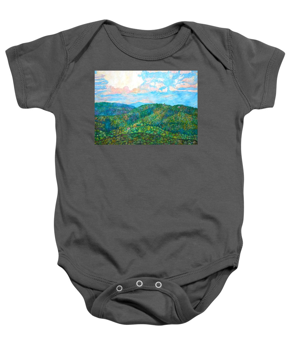 Mountainscape Baby Onesie featuring the painting Cloud Dance On The Blue Ridge by Kendall Kessler