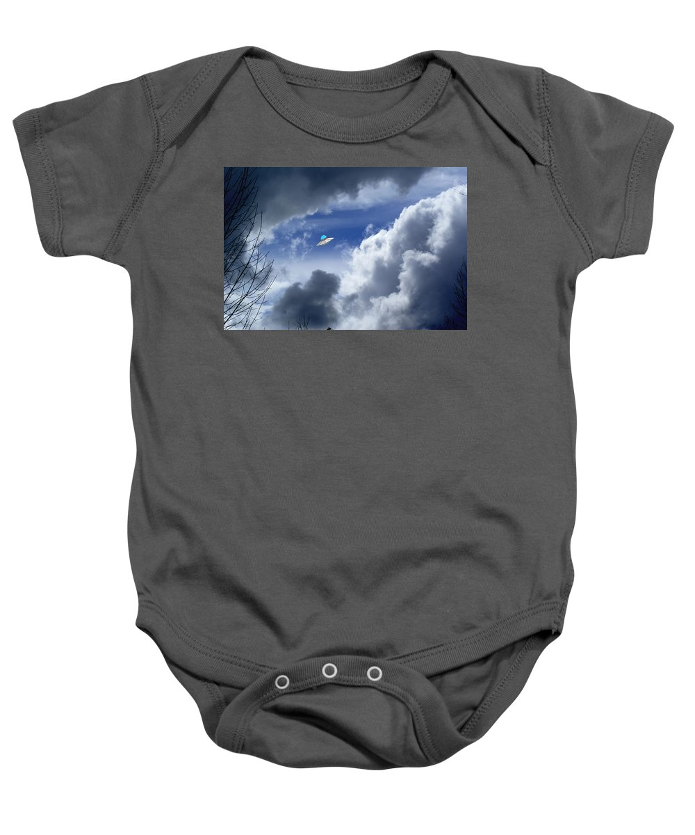 Aliens Baby Onesie featuring the photograph Cloud Surfing by Ben Upham III