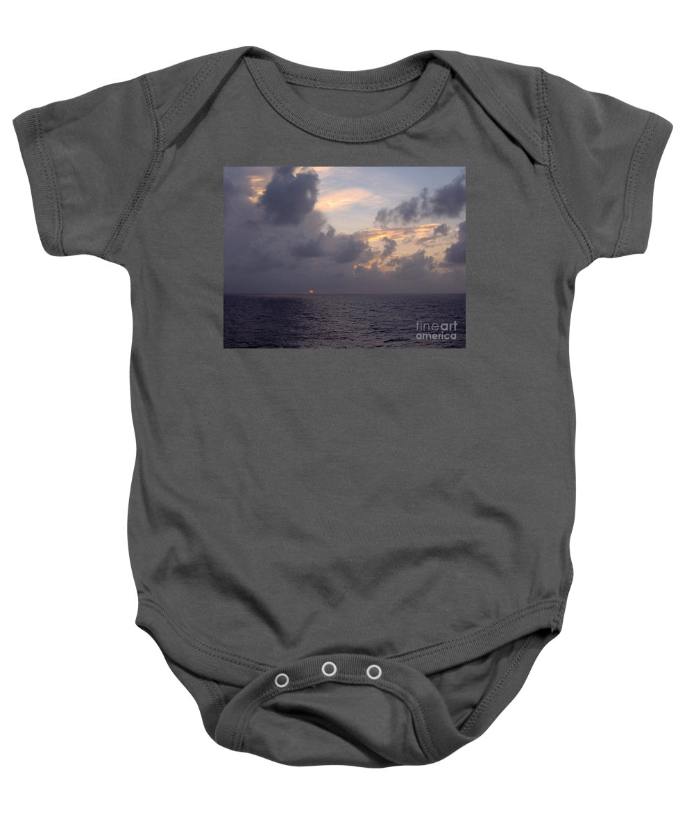 Sunset Baby Onesie featuring the photograph Clouds And Ocean Sunset by D Hackett
