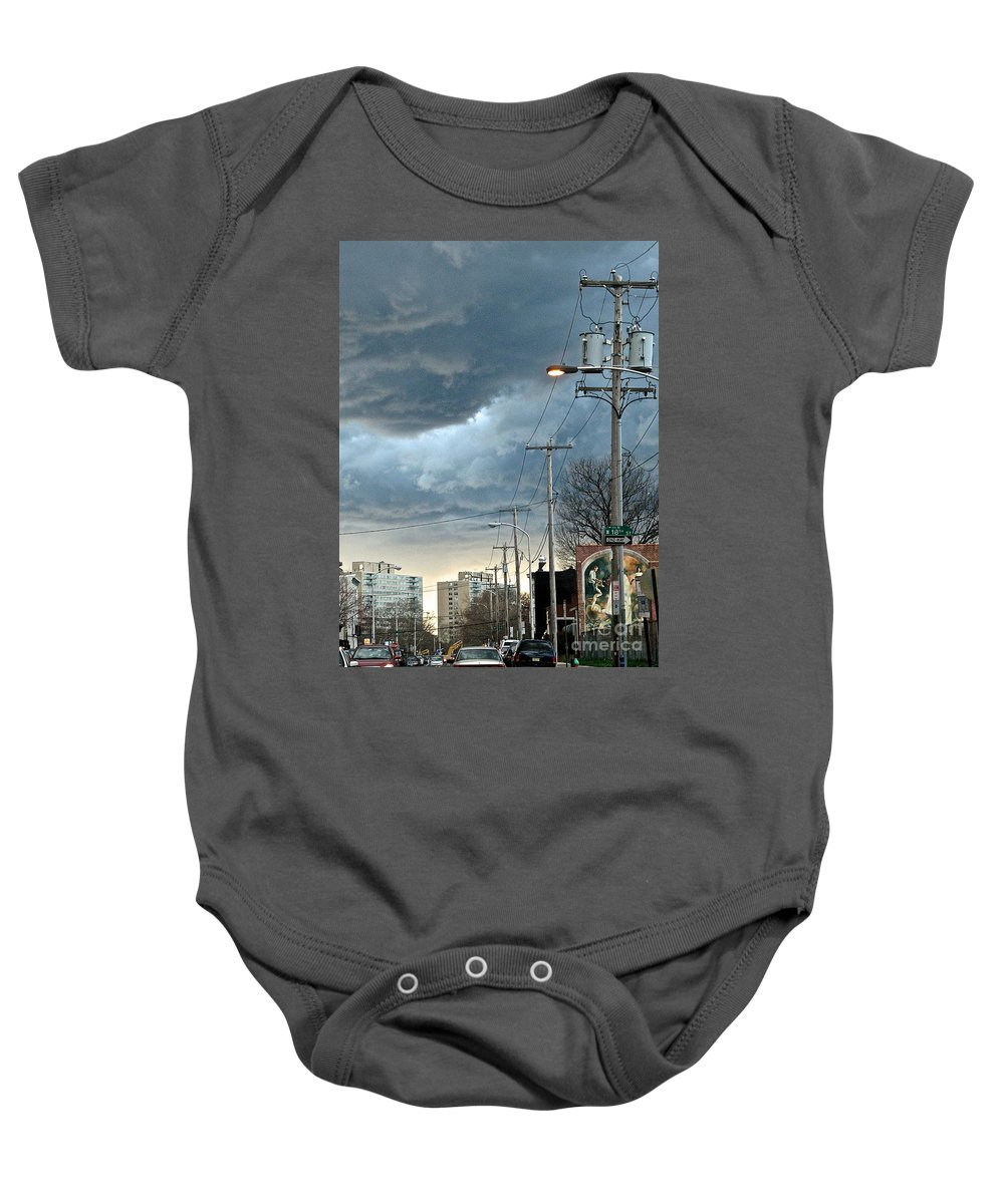 Clouds Baby Onesie featuring the photograph Clouds Over Philadelphia by Christopher Plummer