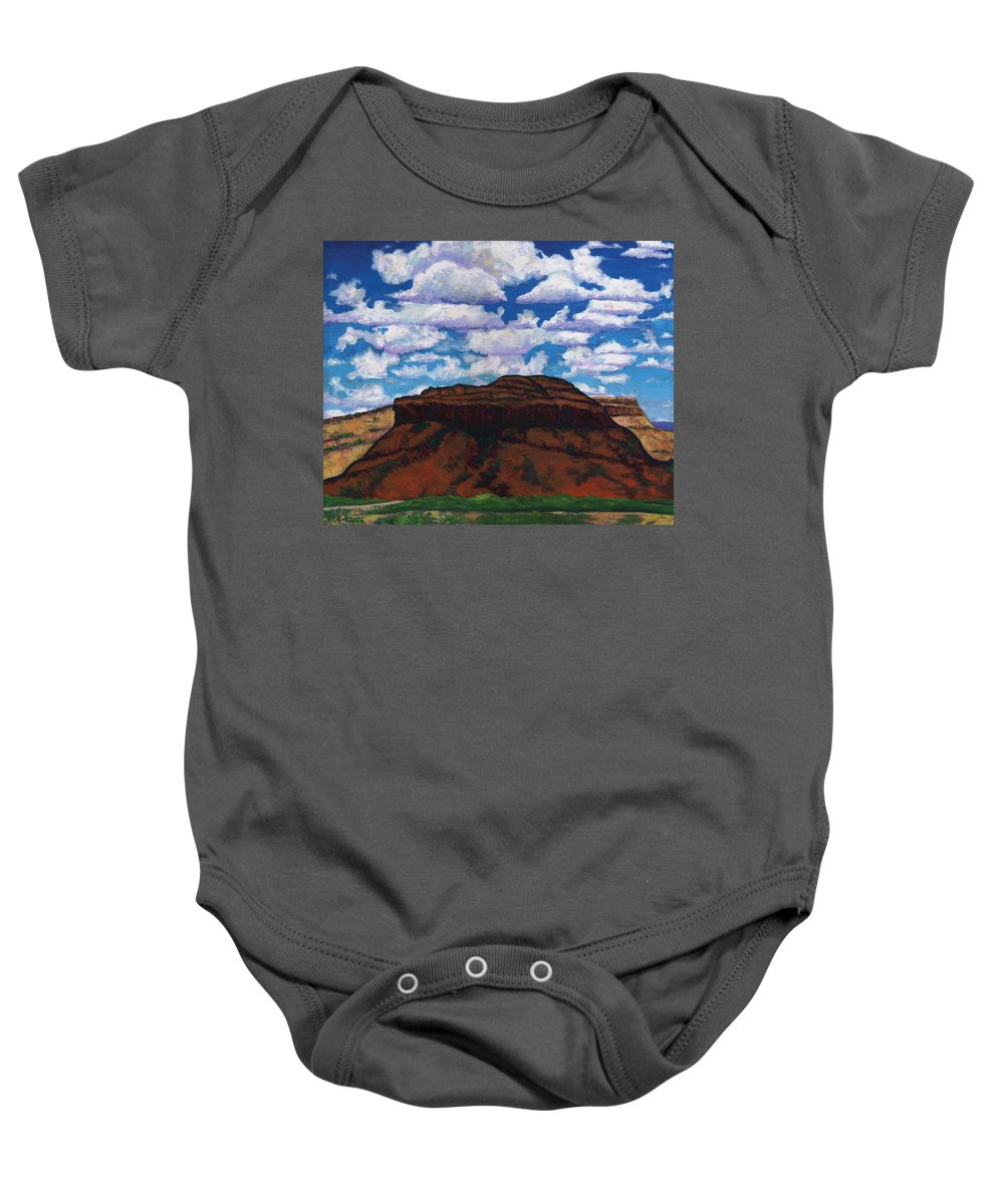 Lanscape Baby Onesie featuring the painting Clouds Over Red Mesa by Joe Triano