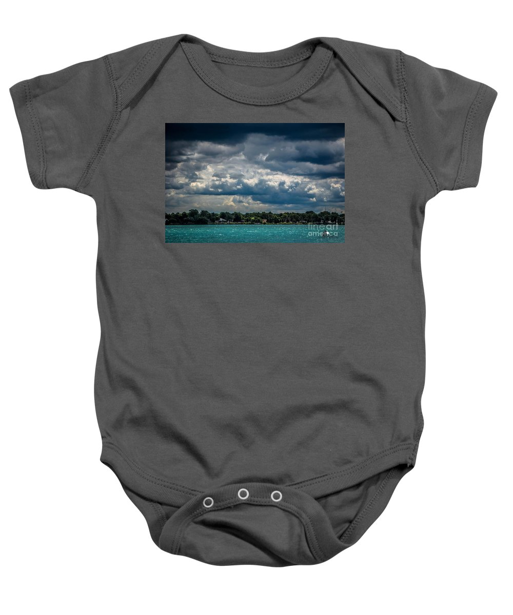 Clouds Baby Onesie featuring the photograph Clouds Over The River by Grace Grogan