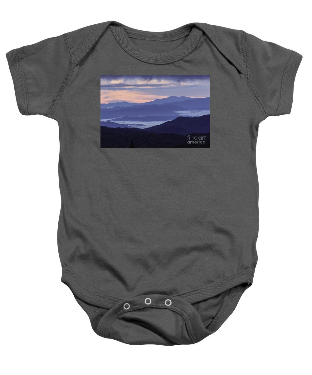 Applachian Mountains Baby Onesie featuring the photograph Cloudy Sunrise by Maria Struss