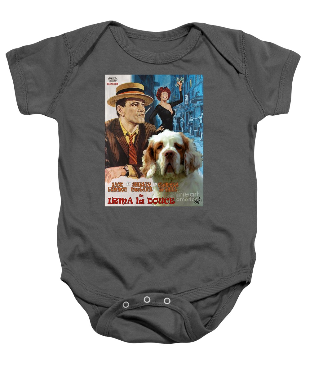 Dog Baby Onesie featuring the painting Clumber Spaniel Art - Irma La Douce Movie Poster by Sandra Sij