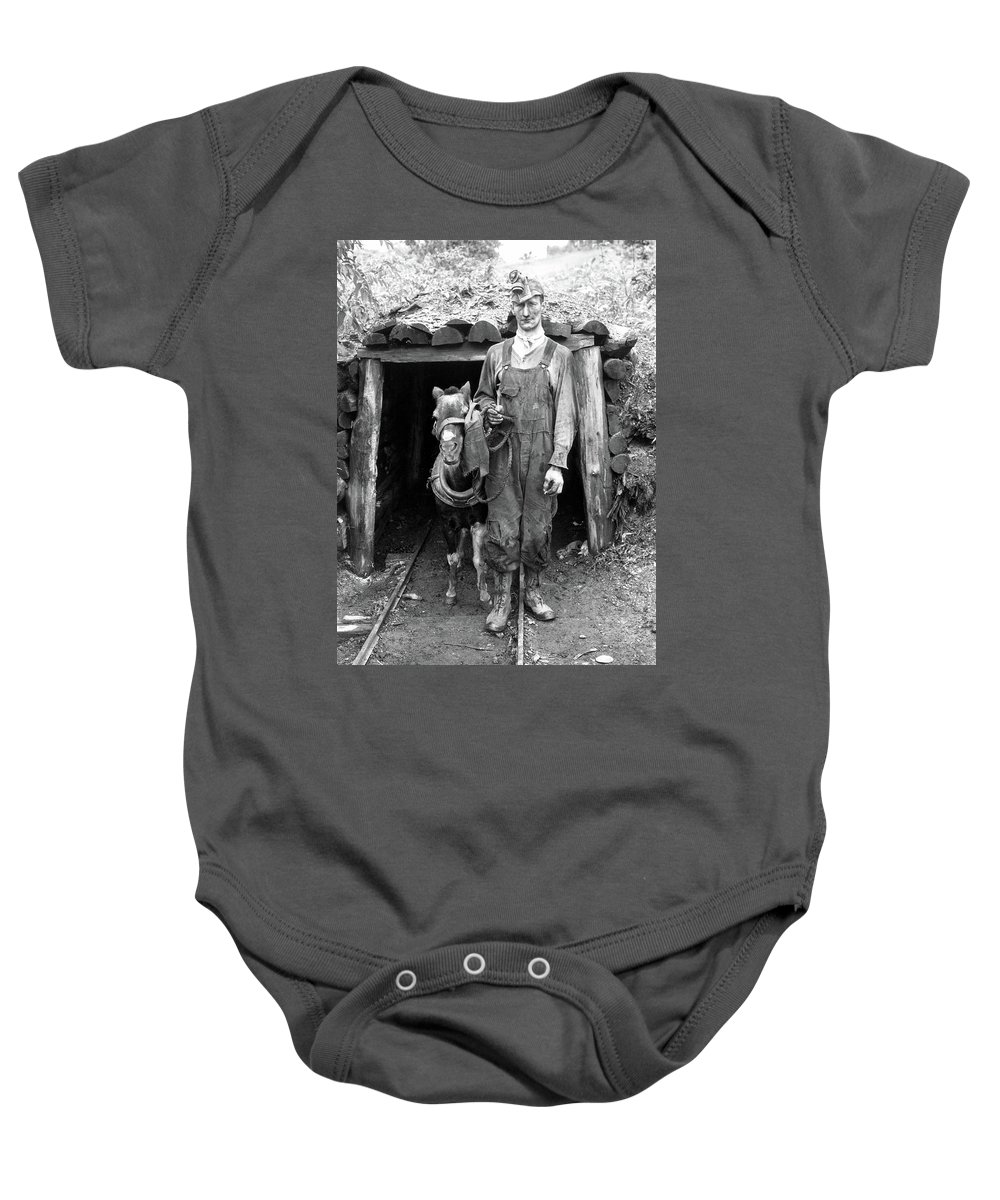 1940 Baby Onesie featuring the photograph Coal Miner & Mule 1940 by Granger