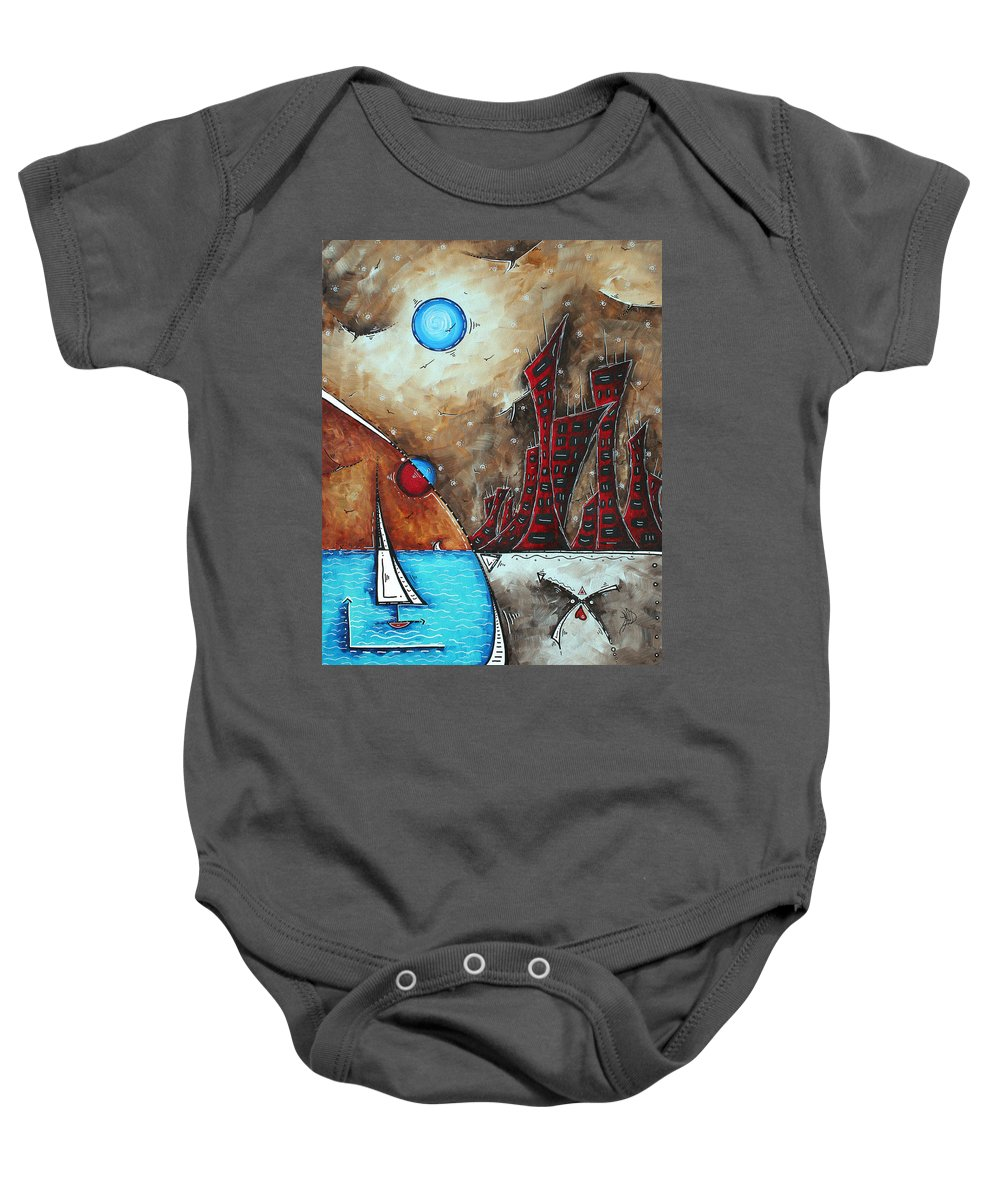 Coastal Baby Onesie featuring the painting Coastal Abstract Cityscape Art Original City Painting Morning Retreat By Madart by Megan Duncanson