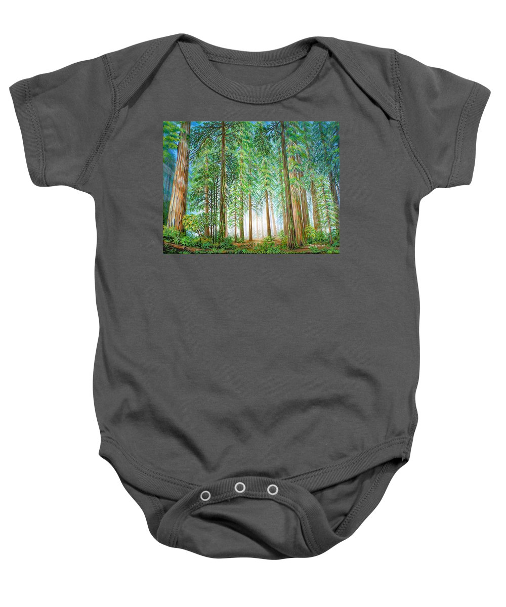 Trees Baby Onesie featuring the painting Coastal Redwoods by Jane Girardot