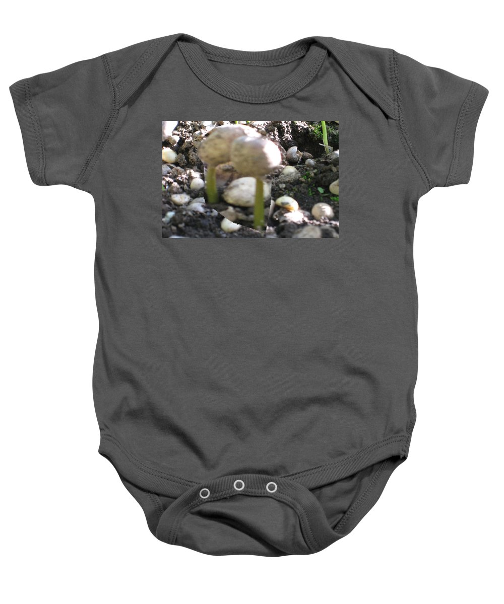 Coffee Baby Onesie featuring the mixed media Coffee Beans Soldier Stage One Of The Seed Giving Birth To A Cash Crop Plant Tree In Costa Rica by Navin Joshi