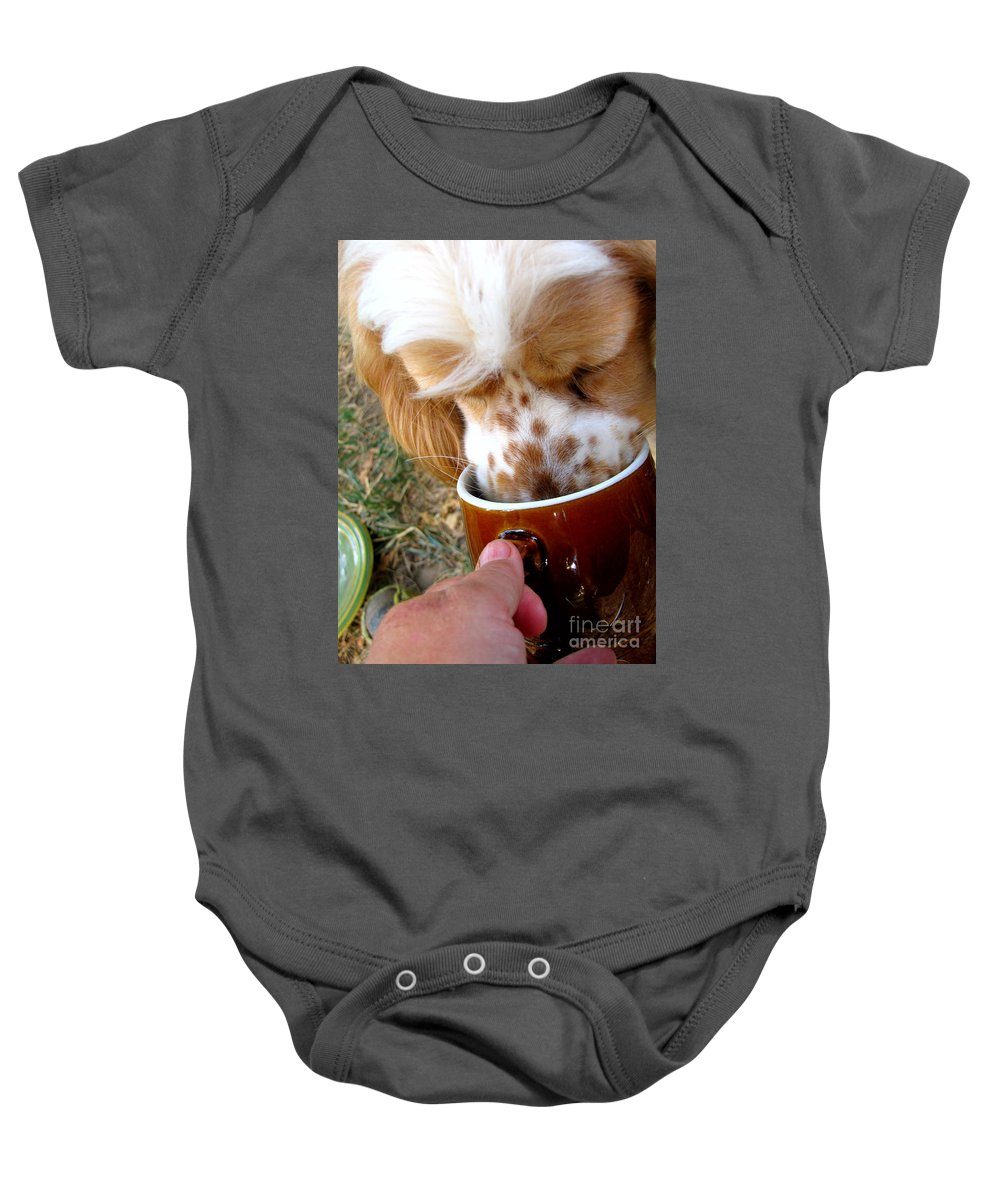 Animals Baby Onesie featuring the photograph Coffee Hound by Debbie Portwood
