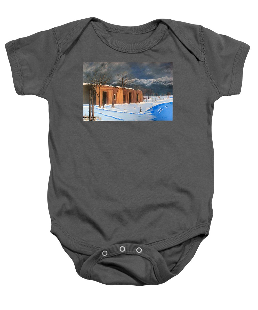 Adobe House Baby Onesie featuring the painting Cold Morning by Sue Stake