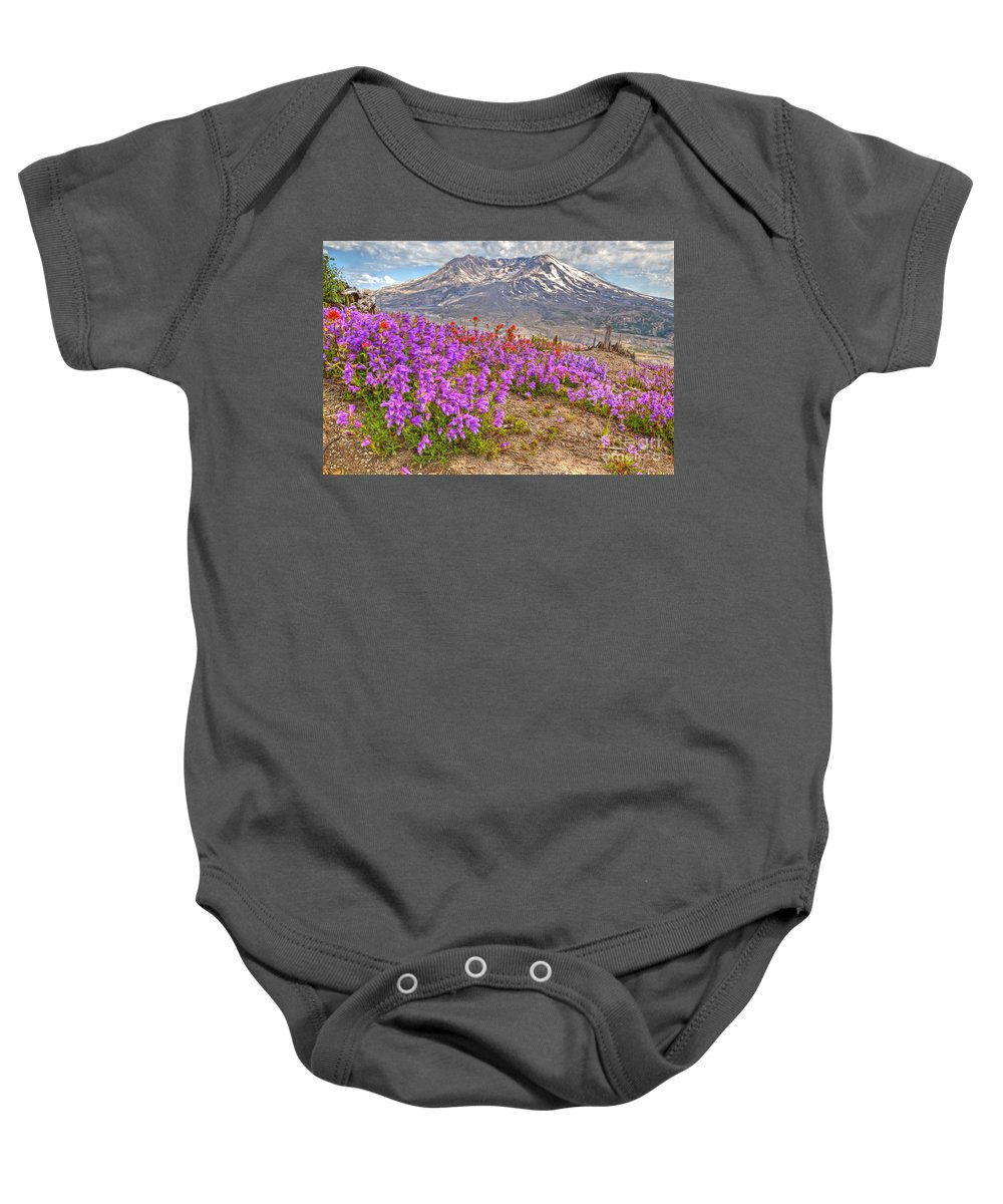 Mt. St. Helens Baby Onesie featuring the photograph Color From Chaos - Mount St. Helens by James Anderson