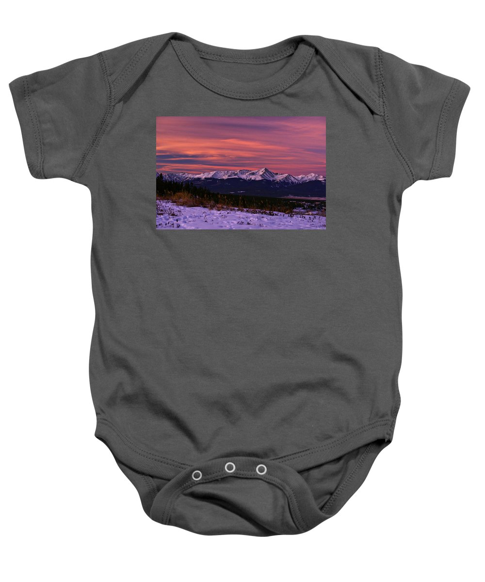 Colorado Baby Onesie featuring the photograph Color Of Dawn by Jeremy Rhoades