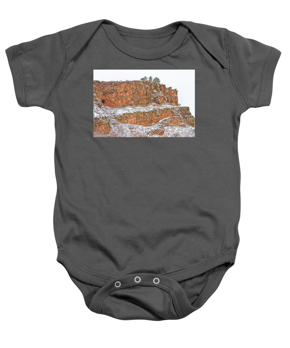 Red Sandstone Baby Onesie featuring the photograph Colorado Red Sandstone Country Dusted With Snow by James BO Insogna