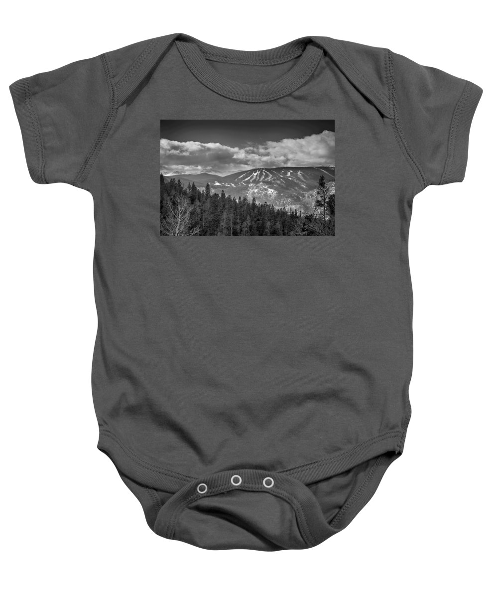Ski Baby Onesie featuring the photograph Colorado Ski Slopes In Black And White by James BO Insogna