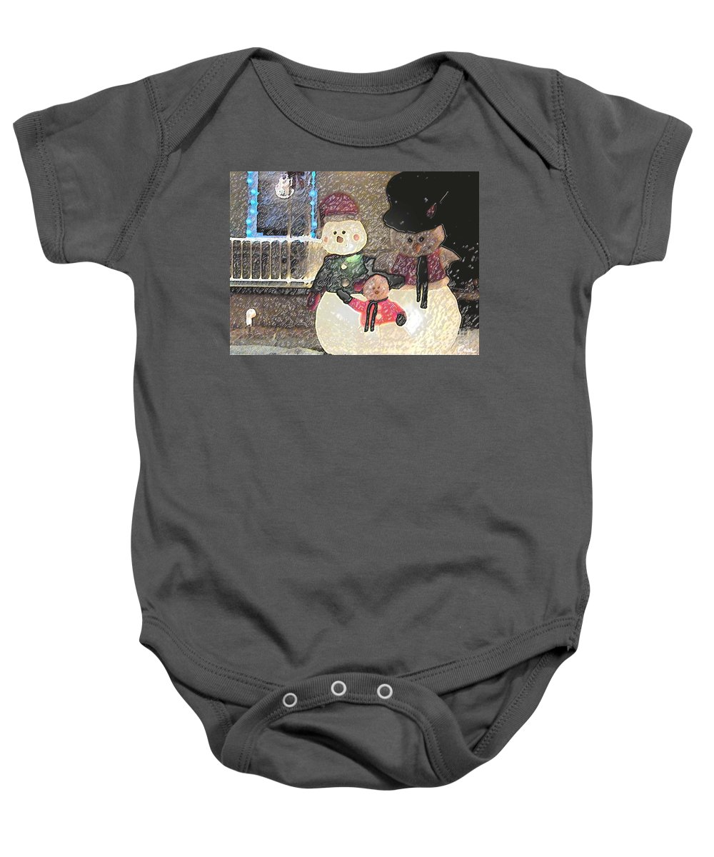 Colorado Snowman Family Baby Onesie featuring the photograph Colorado Snowman Family 1 12 2011 by Feile Case