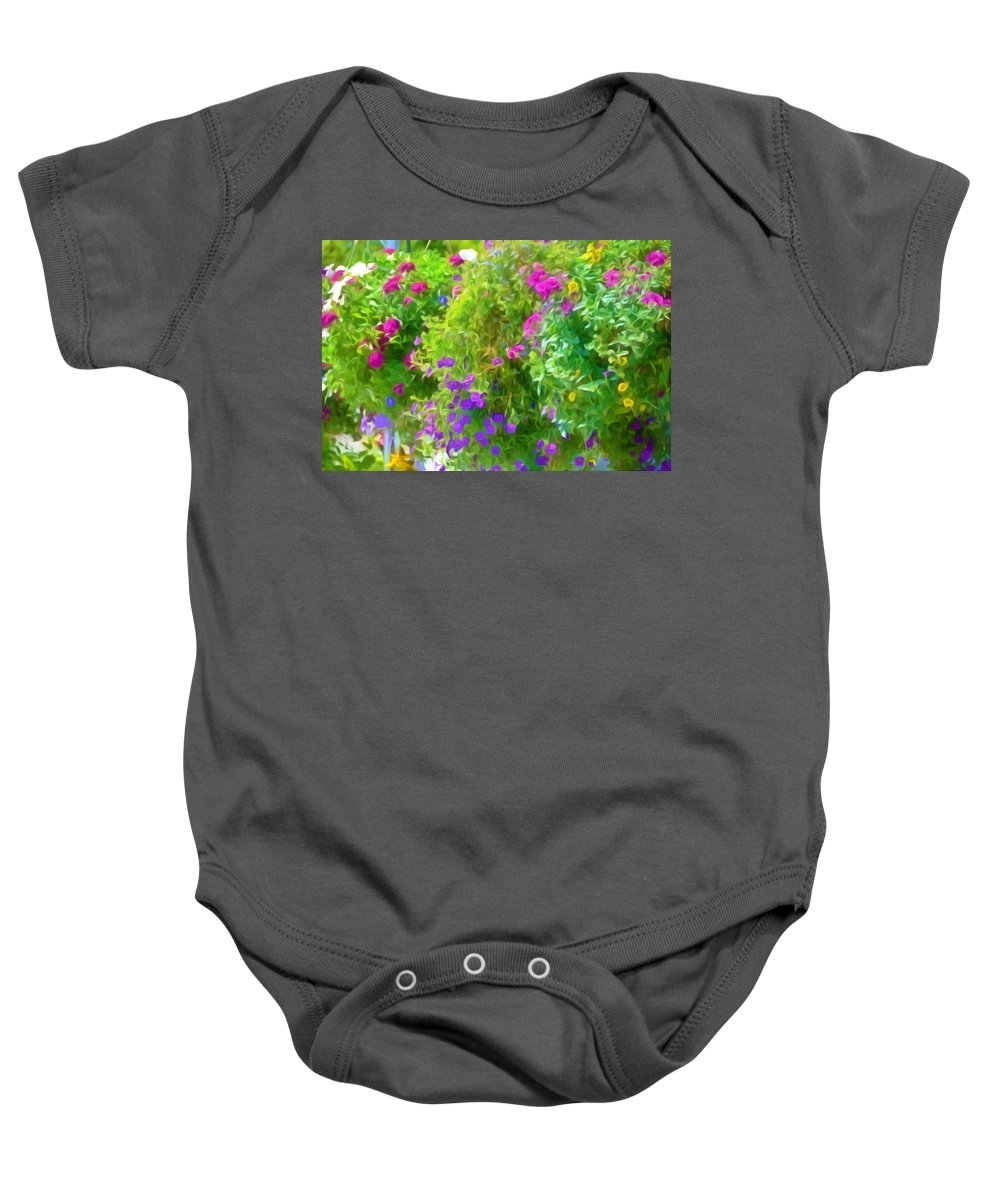 Colorful Large Hanging Flower Plants Baby Onesie featuring the painting Colorful Large Hanging Flower Plants 3 by Jeelan Clark