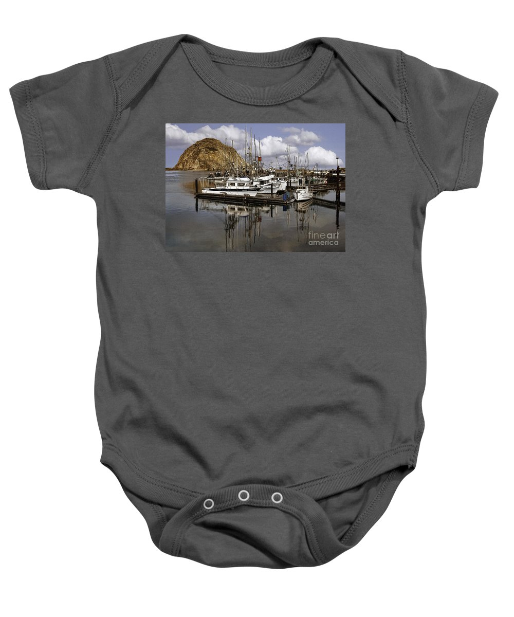Morro Bay Baby Onesie featuring the photograph Colorful Morning Harbor by Sharon Foster