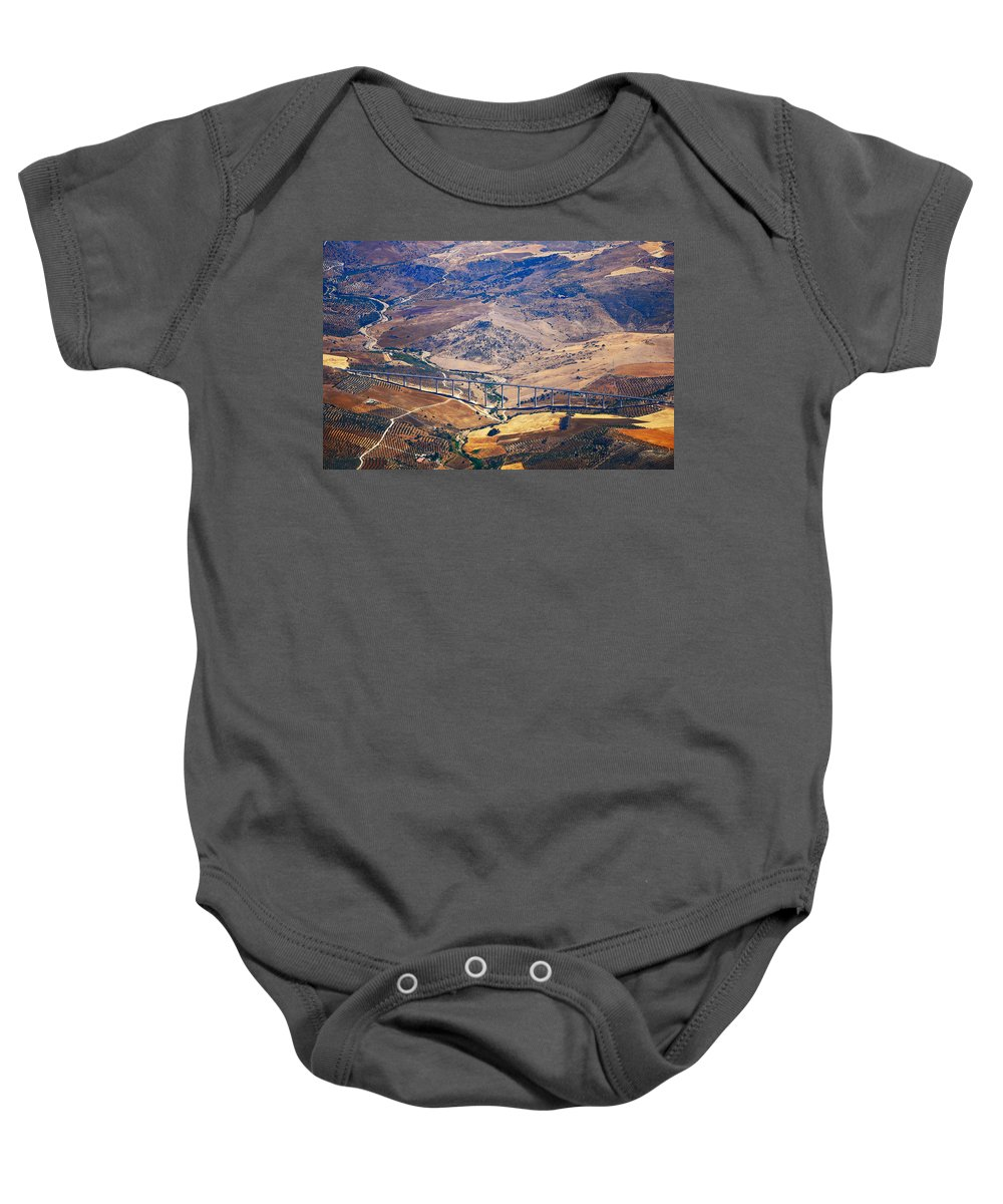 Spain Baby Onesie featuring the photograph Colorful Patchwork Of Andalusian Fields. Spain by Jenny Rainbow