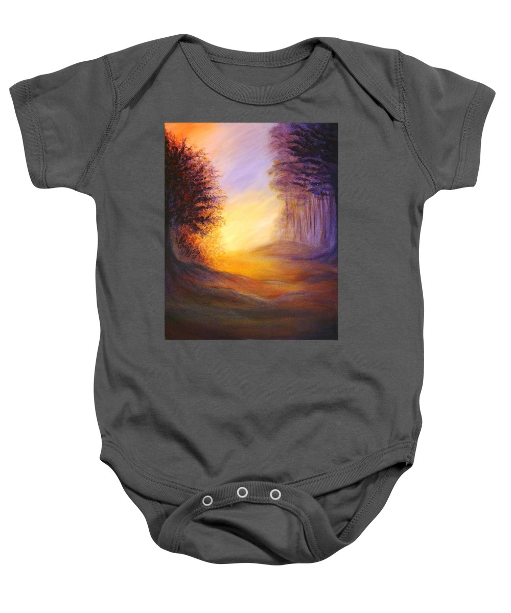 Original Art Baby Onesie featuring the painting Colors Of The Morning Light by Lilia D