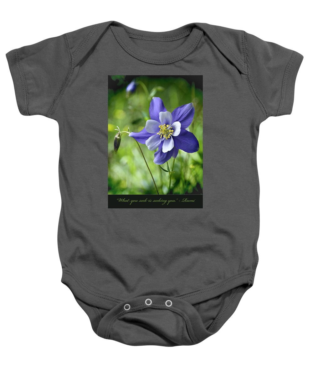 Blossums Baby Onesie featuring the photograph Columbine Card by OLena Art Lena Owens