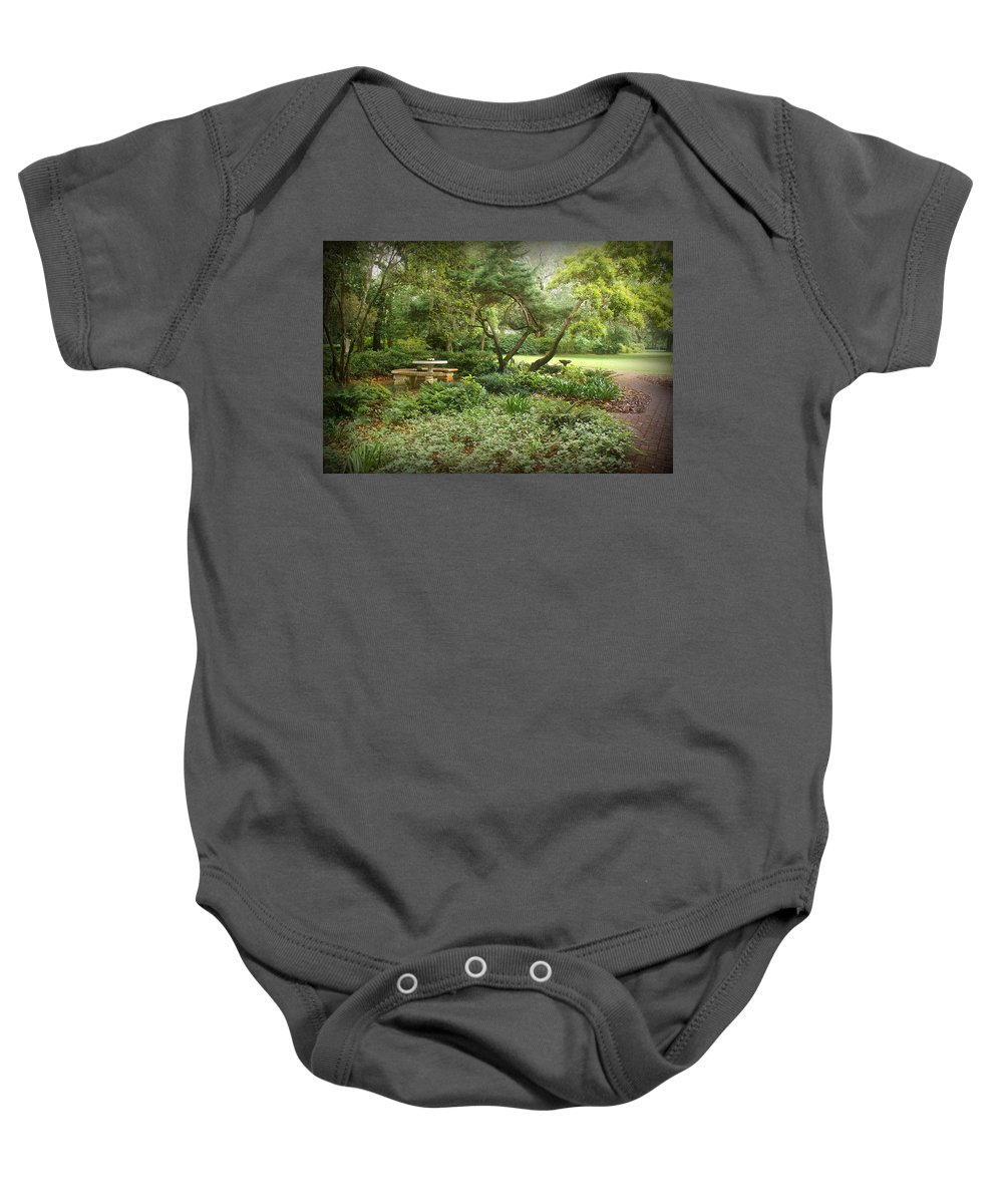 Landscape Baby Onesie featuring the photograph Come Sit A While by Sandy Keeton