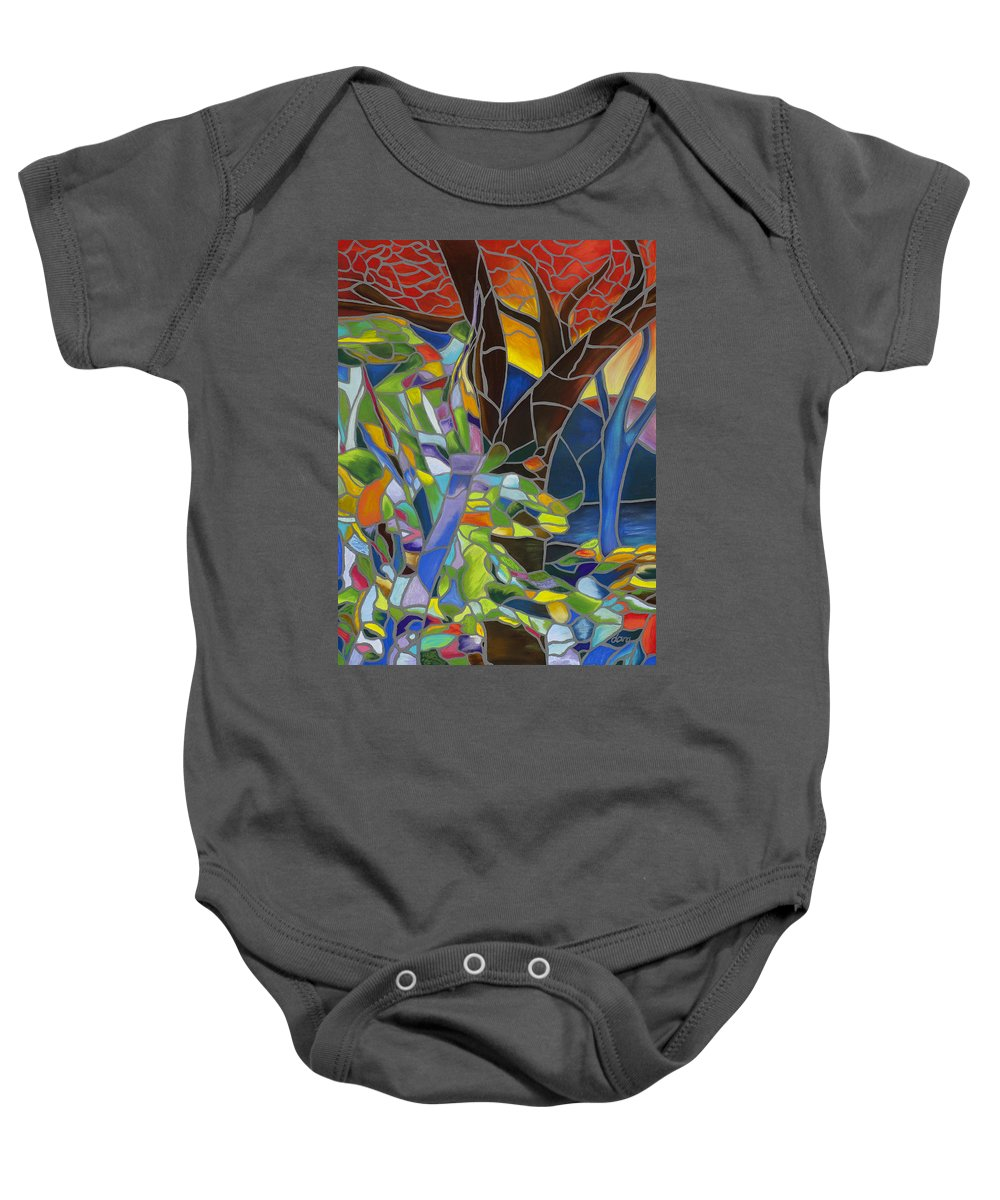 Abstract Baby Onesie featuring the pastel Comforting by Dana Strotheide