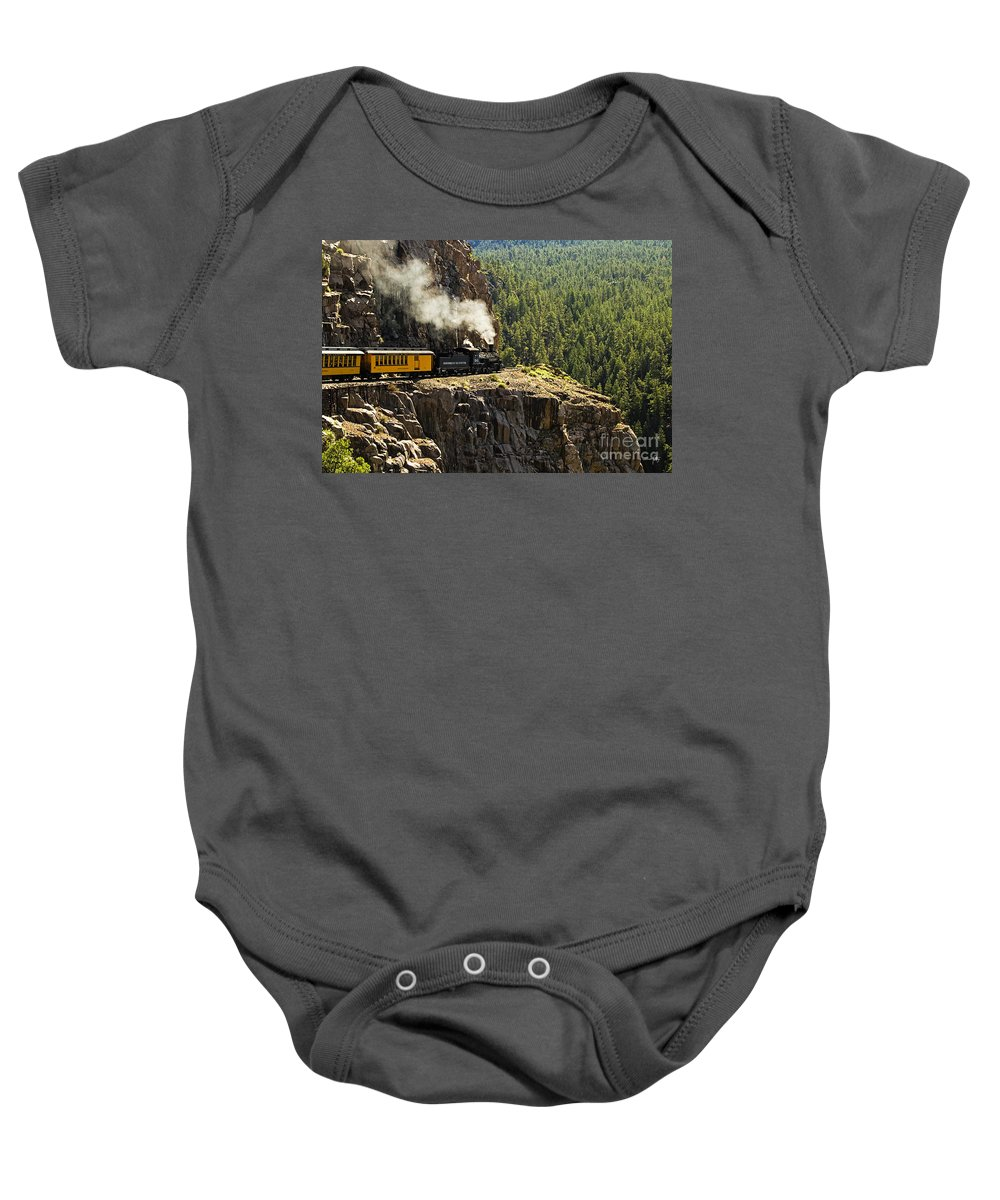 Train Baby Onesie featuring the photograph Coming Around The Bend by Scott Pellegrin