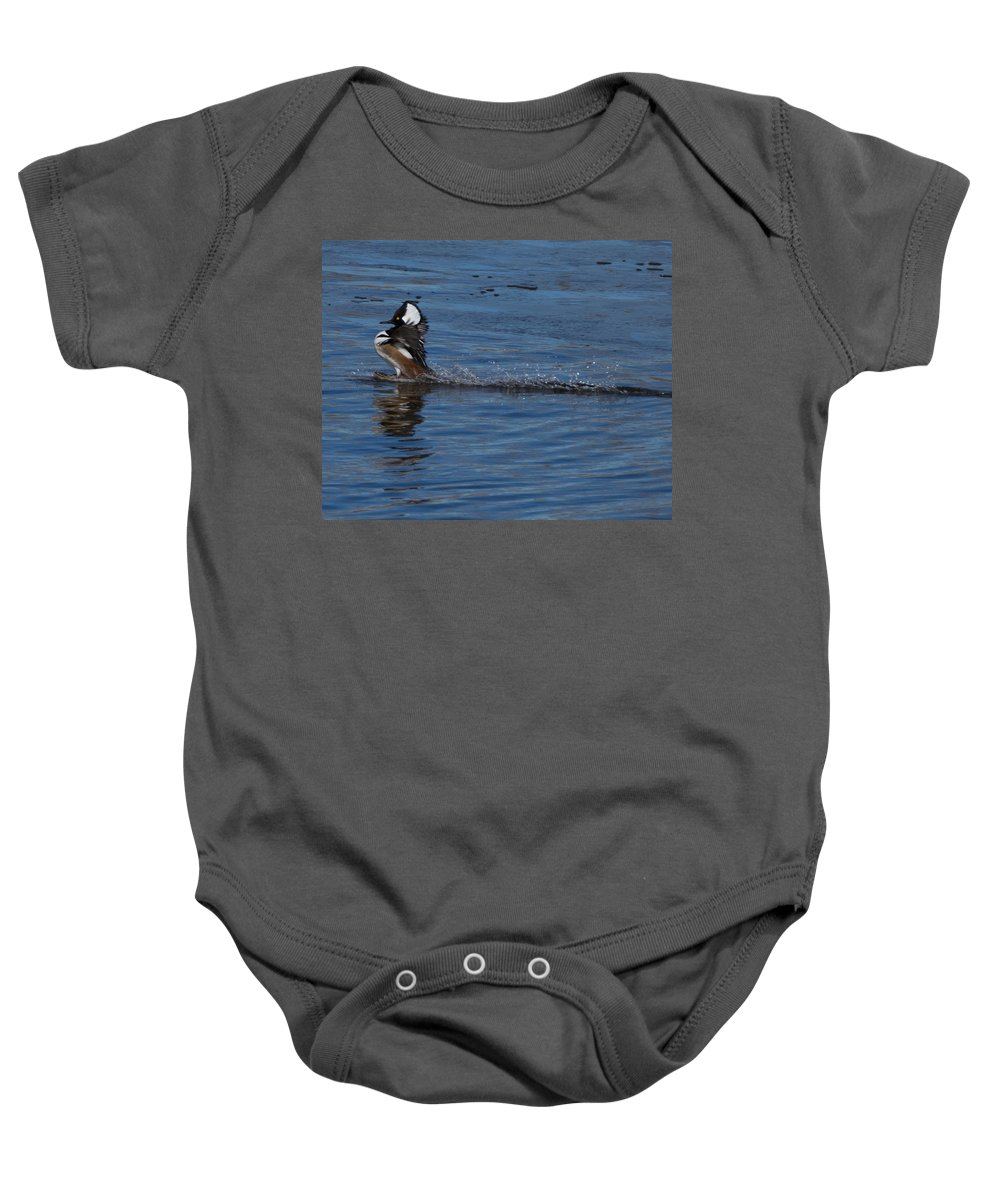 Hooded Merganser Baby Onesie featuring the photograph Coming In Too Hot by Ernie Echols