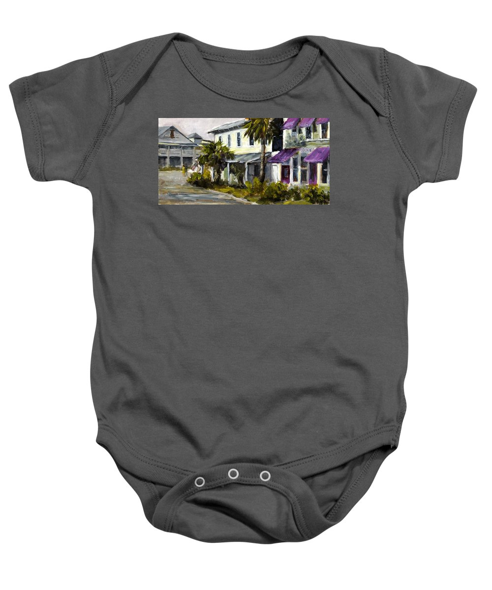 Purple Awnings Baby Onesie featuring the painting Commerce And Avenue D by Susan Richardson