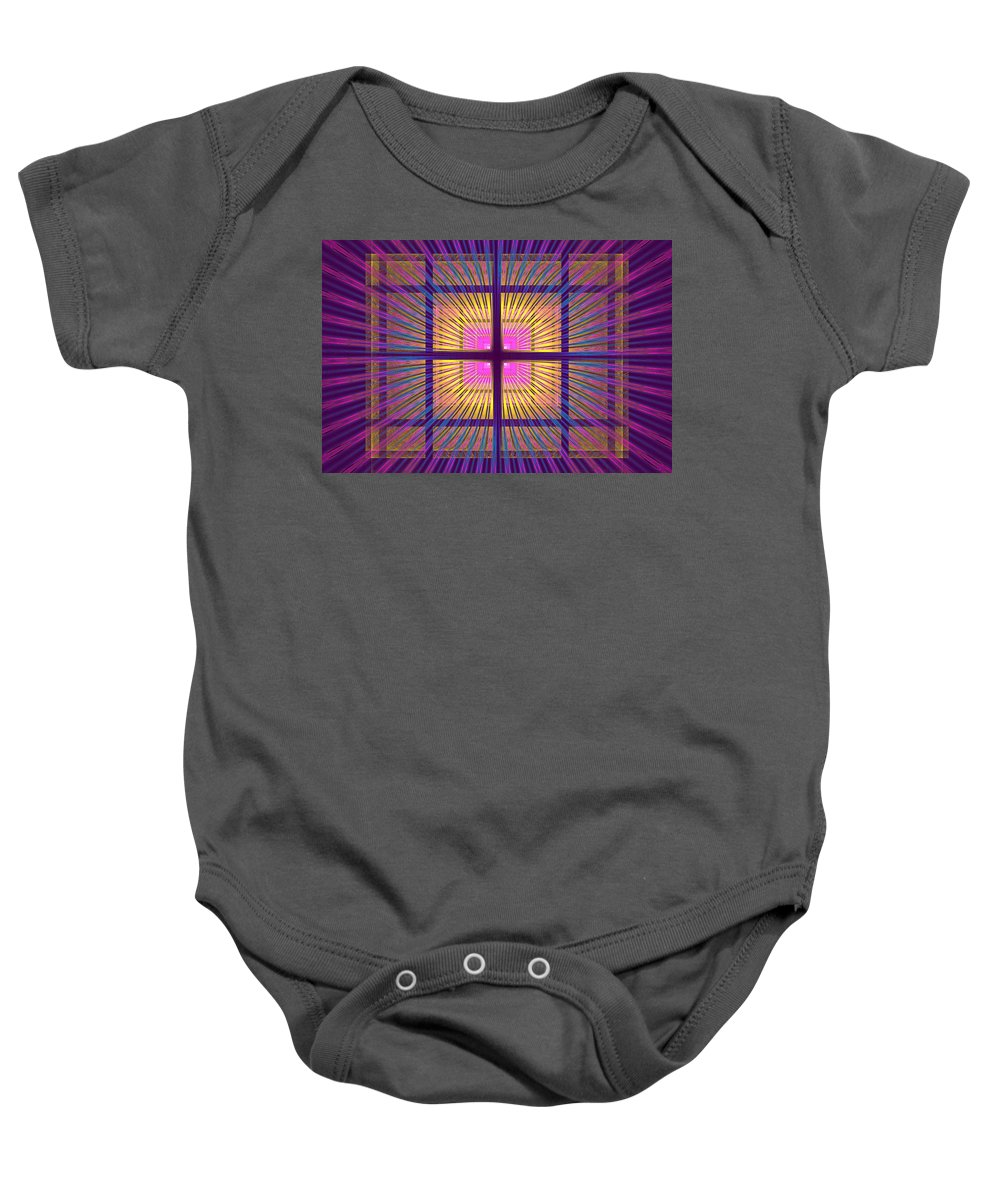 Fractal Baby Onesie featuring the photograph Computer Generated Fractal Squares Geometric Pattern by Keith Webber Jr