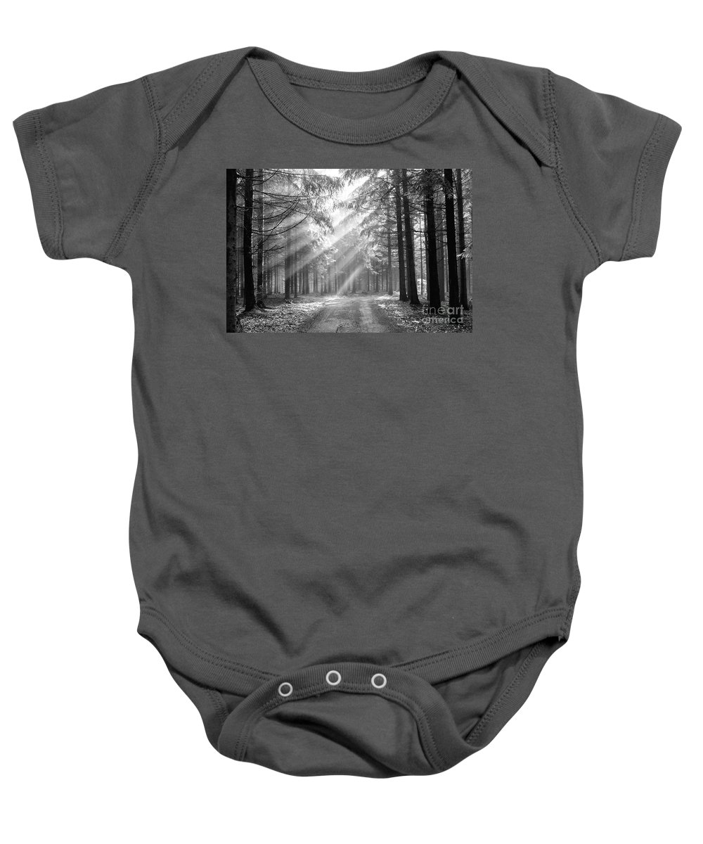 Forest Baby Onesie featuring the photograph Coniferous Forest In Early Morning by Michal Boubin