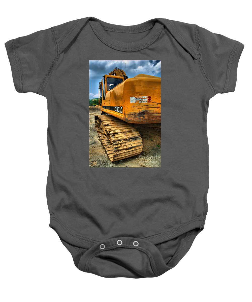 Backhoe Baby Onesie featuring the photograph Construction Excavator In Hdr 1 by Amy Cicconi