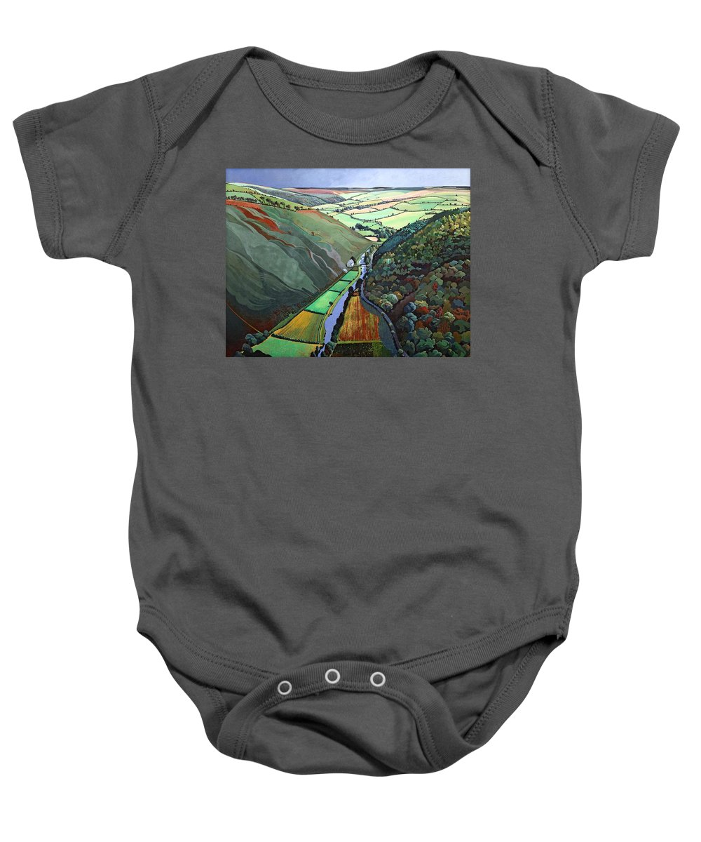 Valley Baby Onesie featuring the photograph Coombe Valley Gate, Exmoor, 2009 Acrylic On Canvas by Anna Teasdale