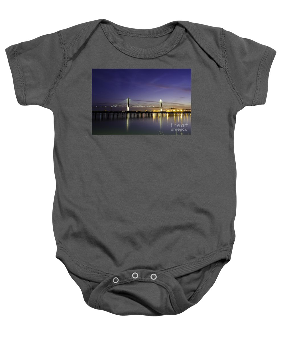 Bridge Baby Onesie featuring the photograph Cooper River Bridge Lights Glowing by Dale Powell