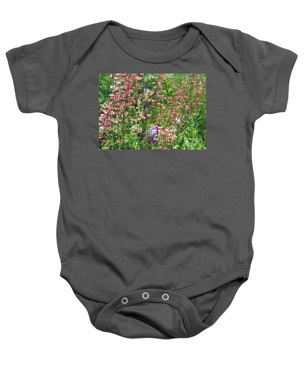 Irises Baby Onesie featuring the photograph Coral Bells And Irises by Mother Nature