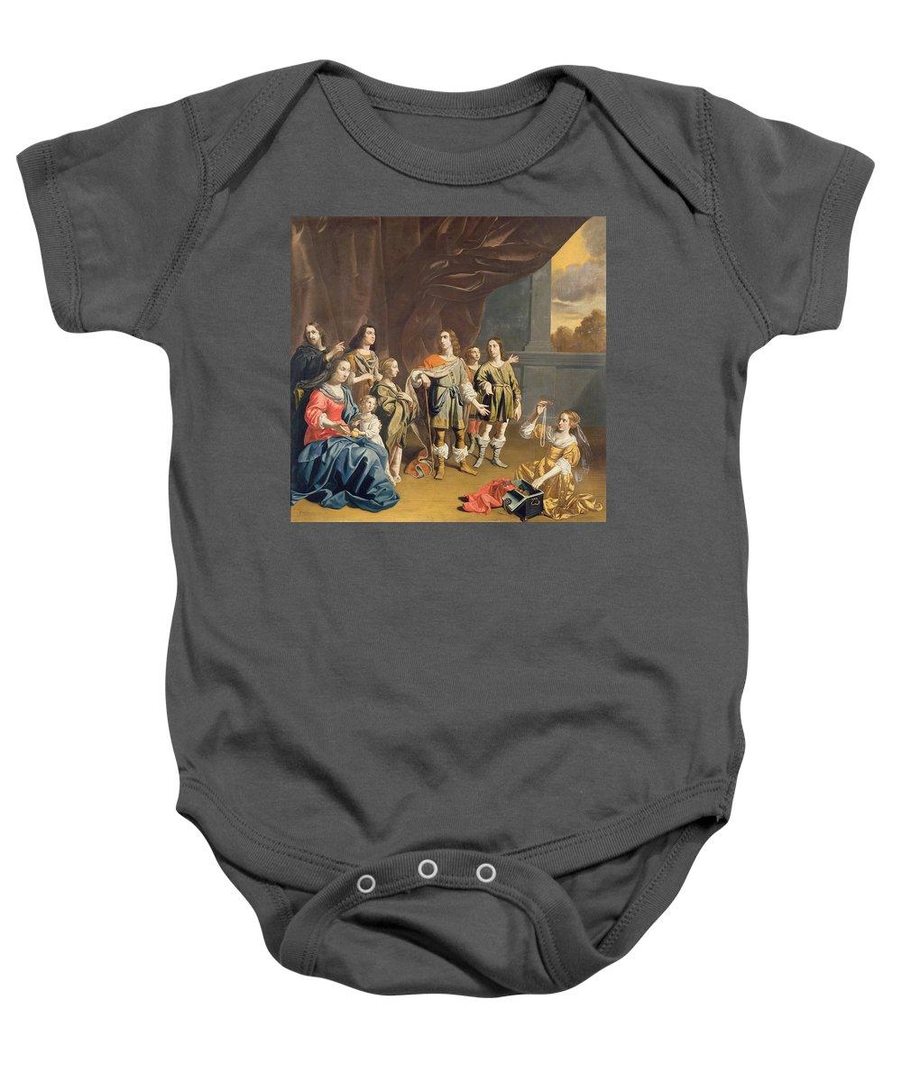 Matron Baby Onesie featuring the photograph Cornelia And Her Jewels Oil On Canvas by Jan van Bijlert or Bylert