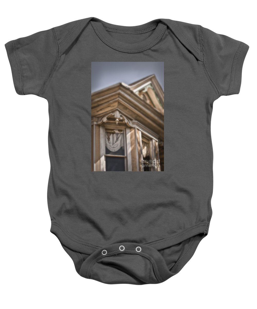 House; Home; Facade; Windows; Peak; Details; Gingerbread; Victorian; Ornate; Architecture; Building; Drapes; Curtains; Corner; Wood; Peeling; Painted; Fringe; Old; Upstairs Baby Onesie featuring the photograph Corner Window by Margie Hurwich