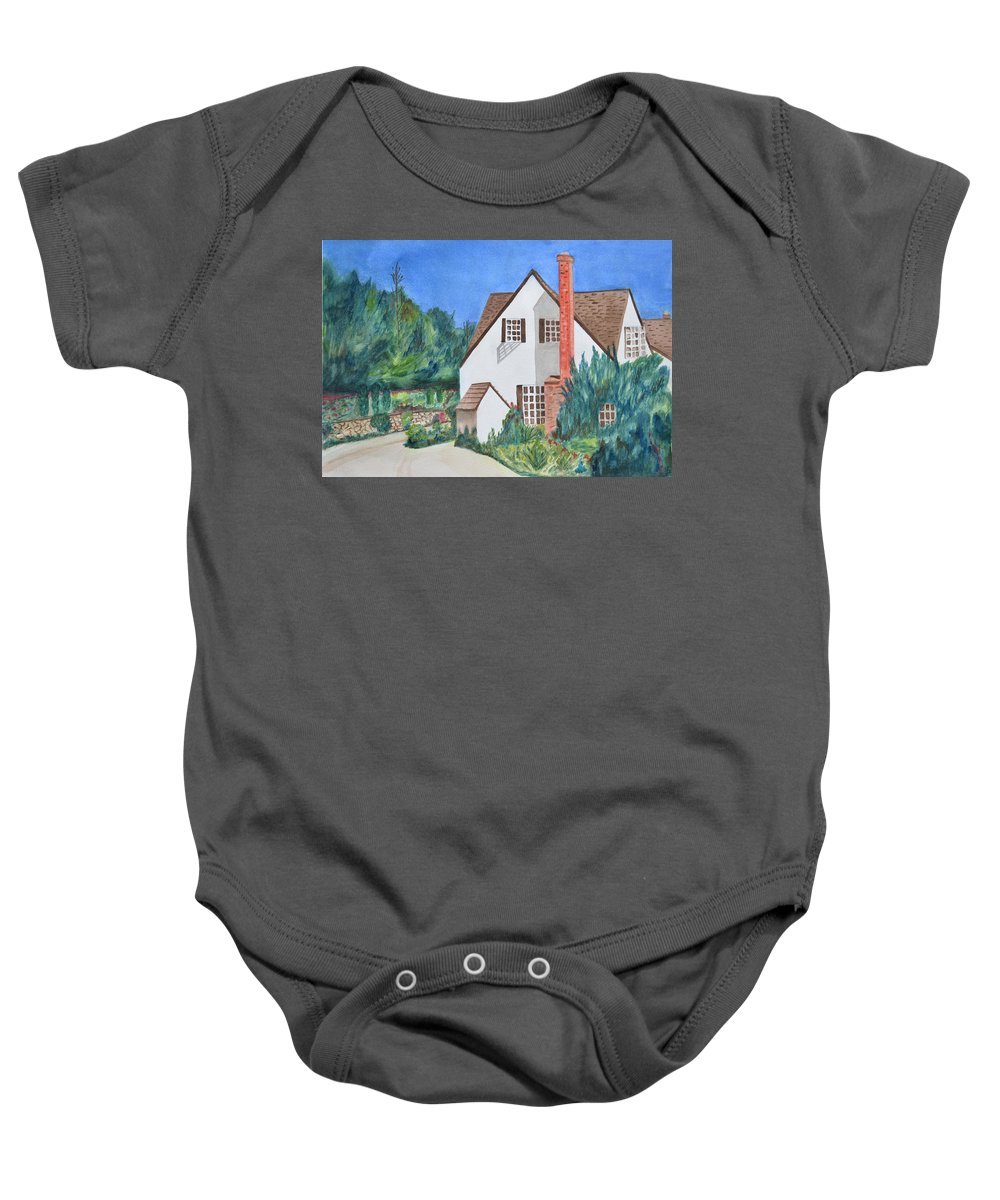 Cottage Baby Onesie featuring the painting Cottage On A Hill by Phyllis Brady