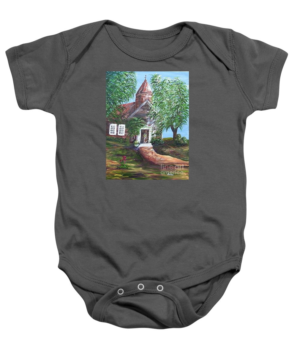 Church Baby Onesie featuring the painting Country Church by Eloise Schneider