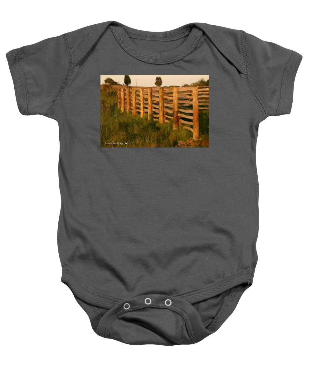 Countryside Baby Onesie featuring the painting Country Fence In England by Bruce Nutting